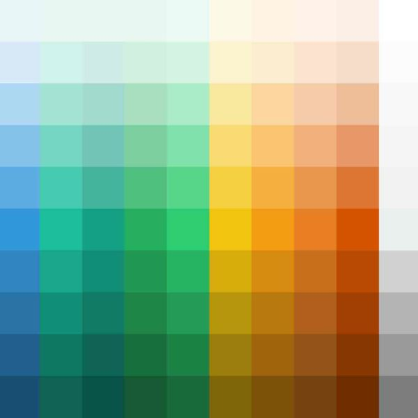 Grid of hex colors that are used on the web.