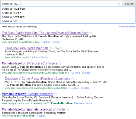 Google's Instant Search on my own name - Pamela Hazelton