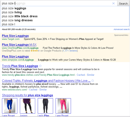Testing plus size l... returns real-time results (screen shot #1)