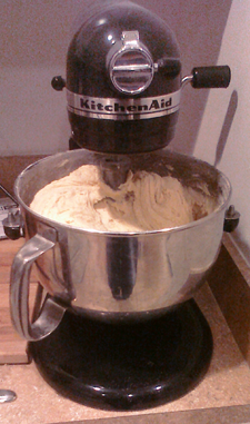 Stand mixer loaded with cookie dough