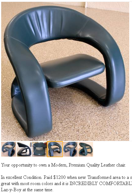 Image of chair - more of a bubbled out dining room chair that doesn't recline. Think atomic meets googie meets more of the future...