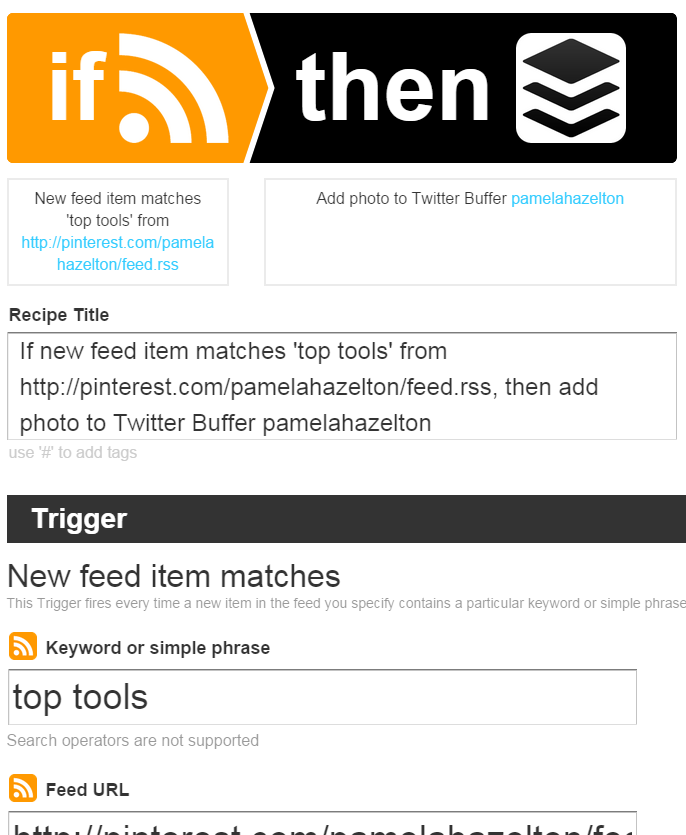IFTTT Recipe Configuration Screen