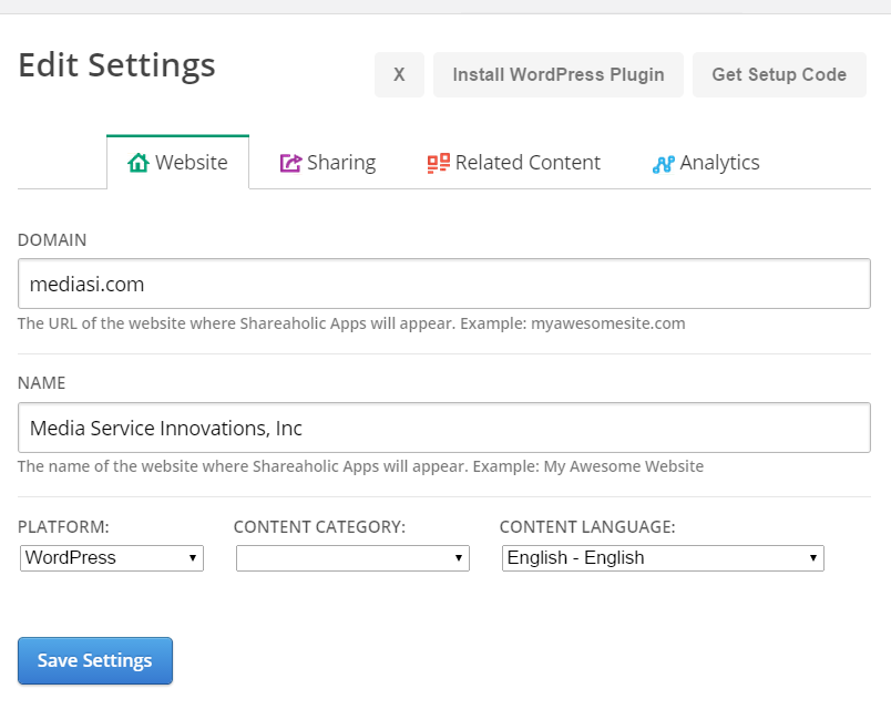 Screenshot showing edit fields for domain, url, platform and more.