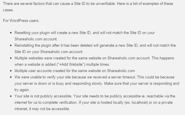 There are several factors that can cause a Site ID to be unverifiable. Here is a list of examples of these cases.
