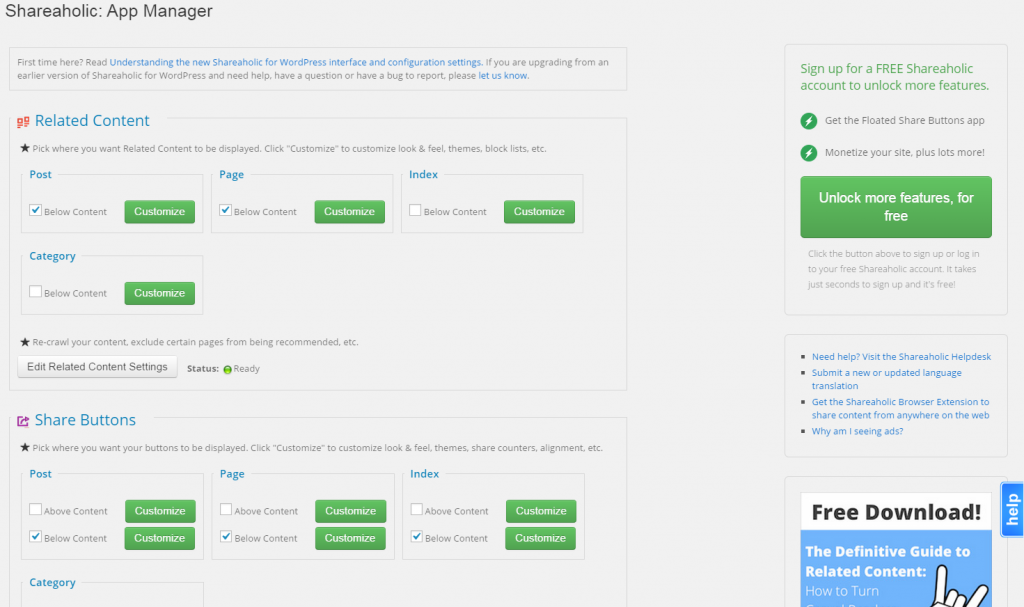 Shareaholic's Plugin Admin Screen as of 09/28/2014