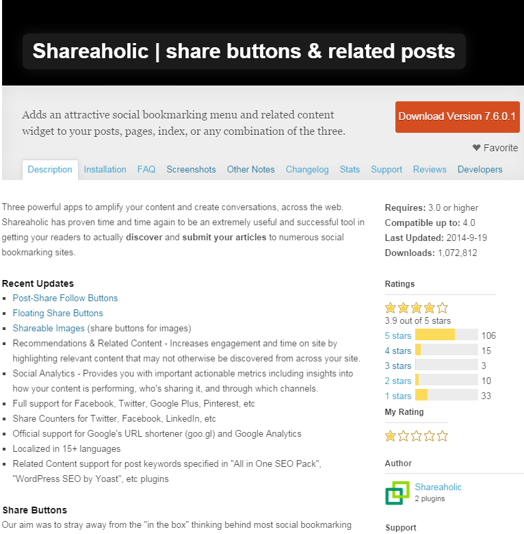 Shareaholic plugin description as of 09/28/14