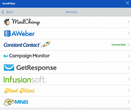 List of support email marketing solutions, including Constant Contact, aweber, MailChmp, Campaign Monitor, GetResponse, Infusionsoft,Mad Mimi and MNB