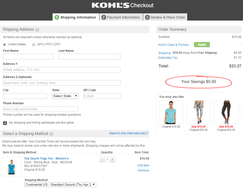 Screenshot of Kohl's checkout highlighting zero savings