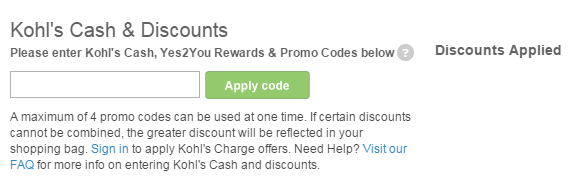 Kohl's Promo Entry Instructions