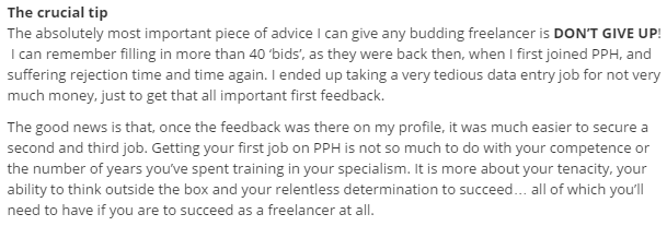 Screenshot of blog post from PPH - I ended up taking a... job for not very much money.