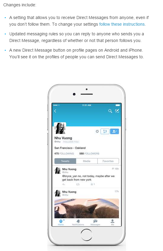 Twitter announces change to Direct Messages