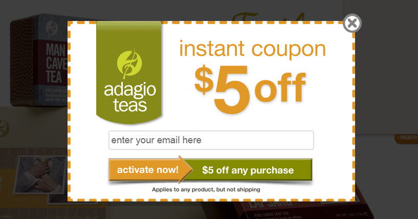 Adagio.com box that offers $5 coupon when you subscribe