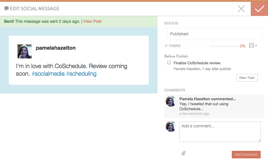 Screenshot: CoSchedule Tasks & Comments