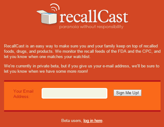 recallCast notified page