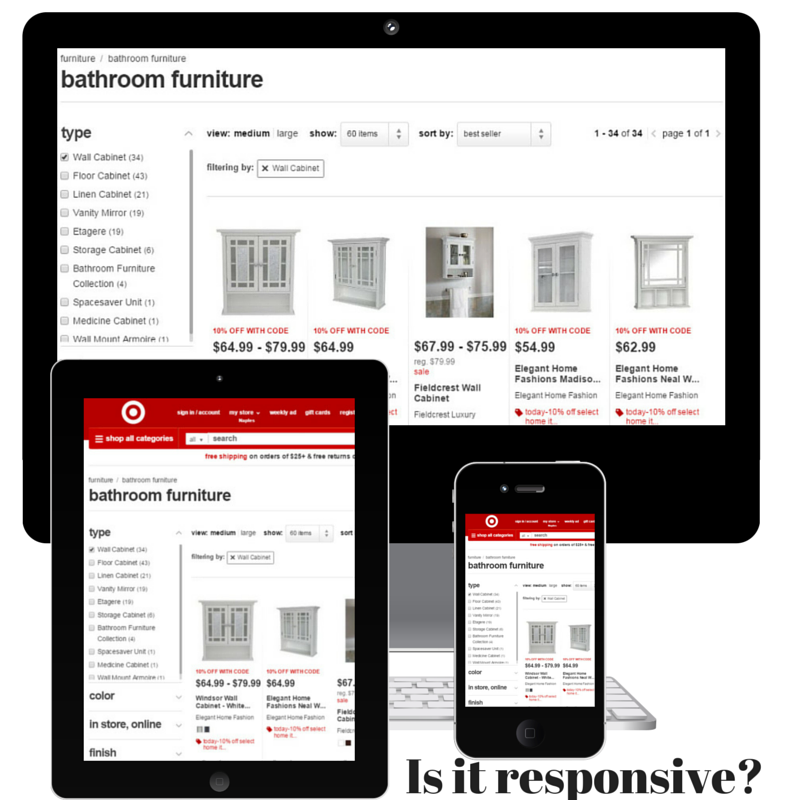 Screenshot of computer, iPad and iPhone showing Target's website