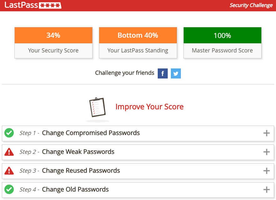 Screenshot of a LastPass Security Challenge
