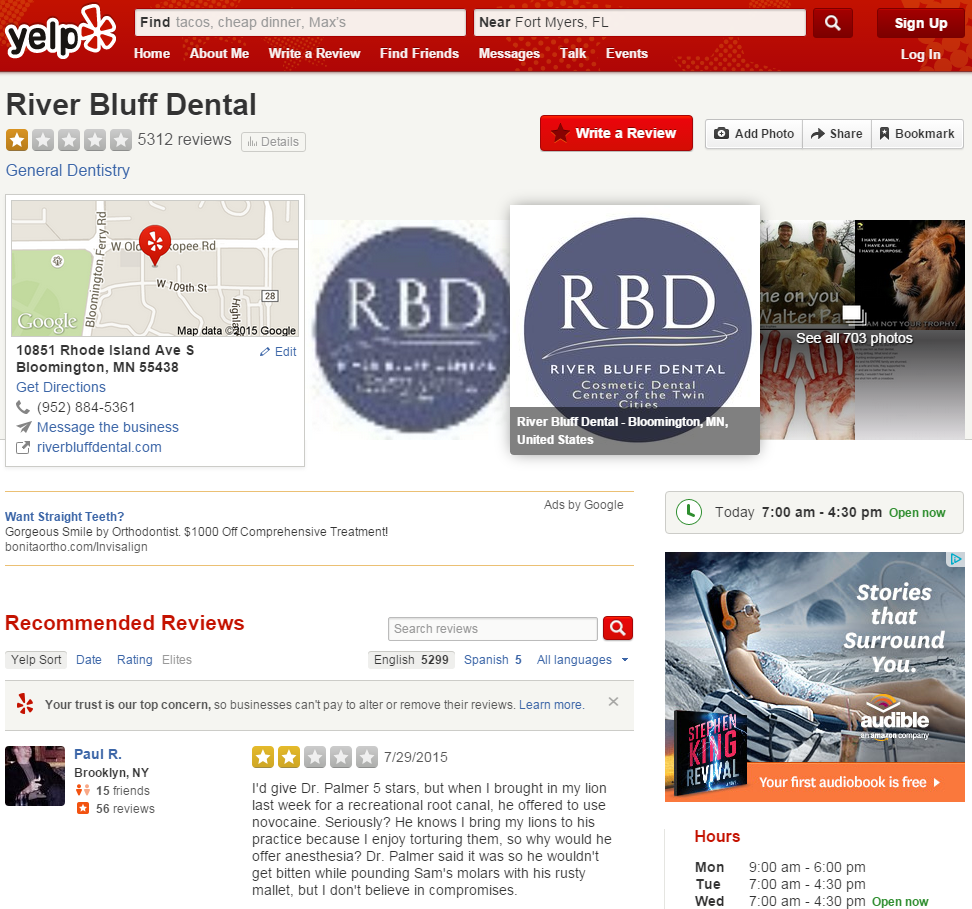 Screenshot of the Yelp Page for River Bluff Dental