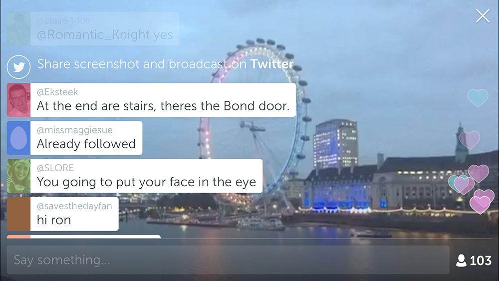 Screenshot of the London Eye on Periscope