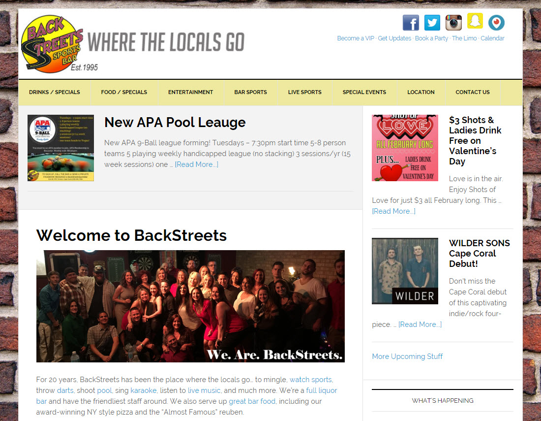 Screenshot of BackStreets Sports Bar website