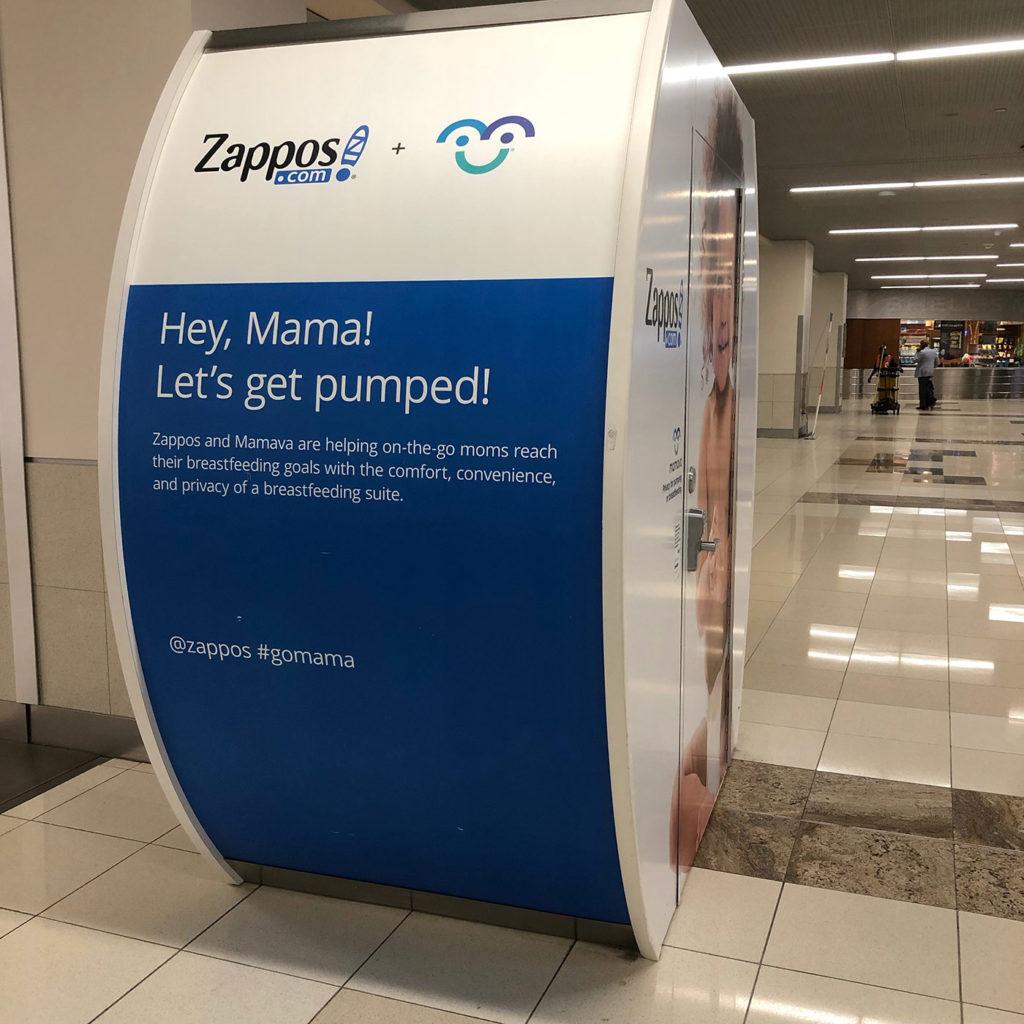 Zappos & Mamava breast pumping suite in Atlanta's airport in April, 2019.