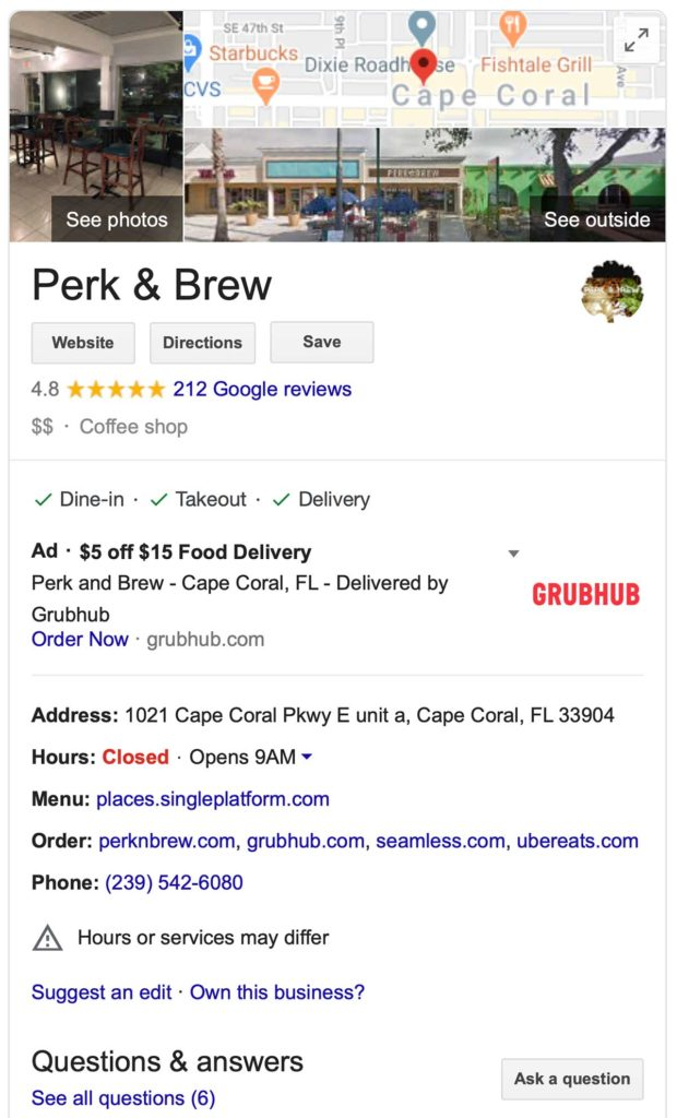 Google My Business listing for Perk & Brew in Cape Coral, Florida. It features a map and photos, followed by contact info and hours of operation.