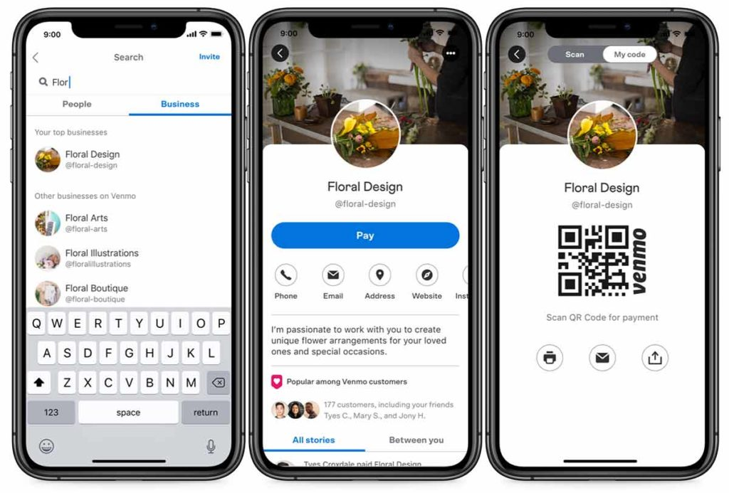 Screenshots of the Venmo app